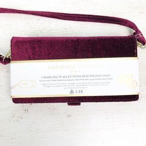 ADRIENNE VITTADINI burgundy velvet charging WALLET